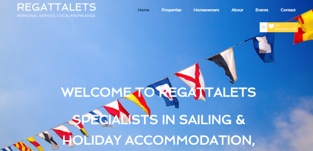 home page of Regattalets.com website