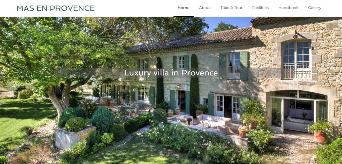 Mas en Provence holiday home - home page of website